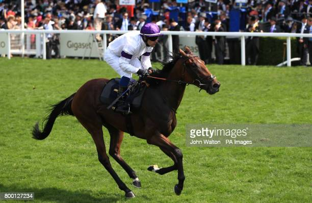 Go Bananas ridden by jockey Kieron Fox goes to post before the Queen Mary Stakes during day two of Royal Ascot
