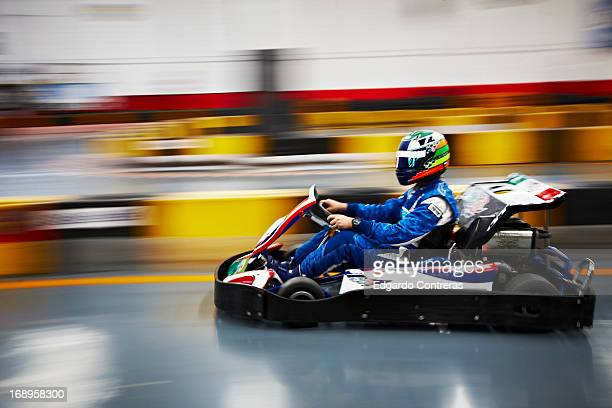 Go cart racer in motion