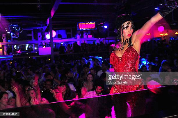 Go Go dancer and atmosphere during Roger Sanchez's 'Release Yourself' party at Space on August 29 2011 in Ibiza Spain