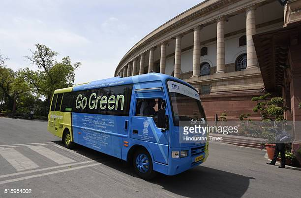 Go Green Electric Bus for Parliamentarians parked outside the Parliament during the Parliament Budget Session on March 16 2016 in New Delhi India...