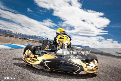 Go Kart Racer Speeding Around Track