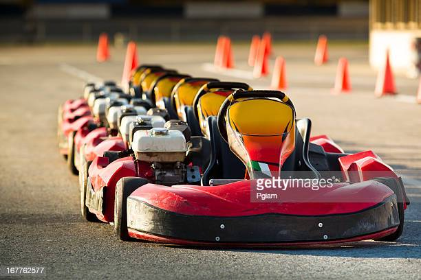 Go karts lined up before a race