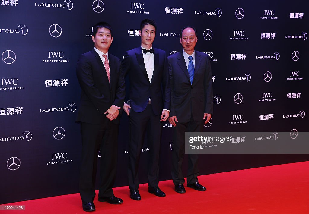 Go Player Chang Hao, Table Tennis player Wang Liqin and Haiping Sun, Vice Coach, China National Athlete Team attends the 2015 Laureus World Sports Awards at Shanghai Grand Theatre on April 15, 2015 in Shanghai, China.