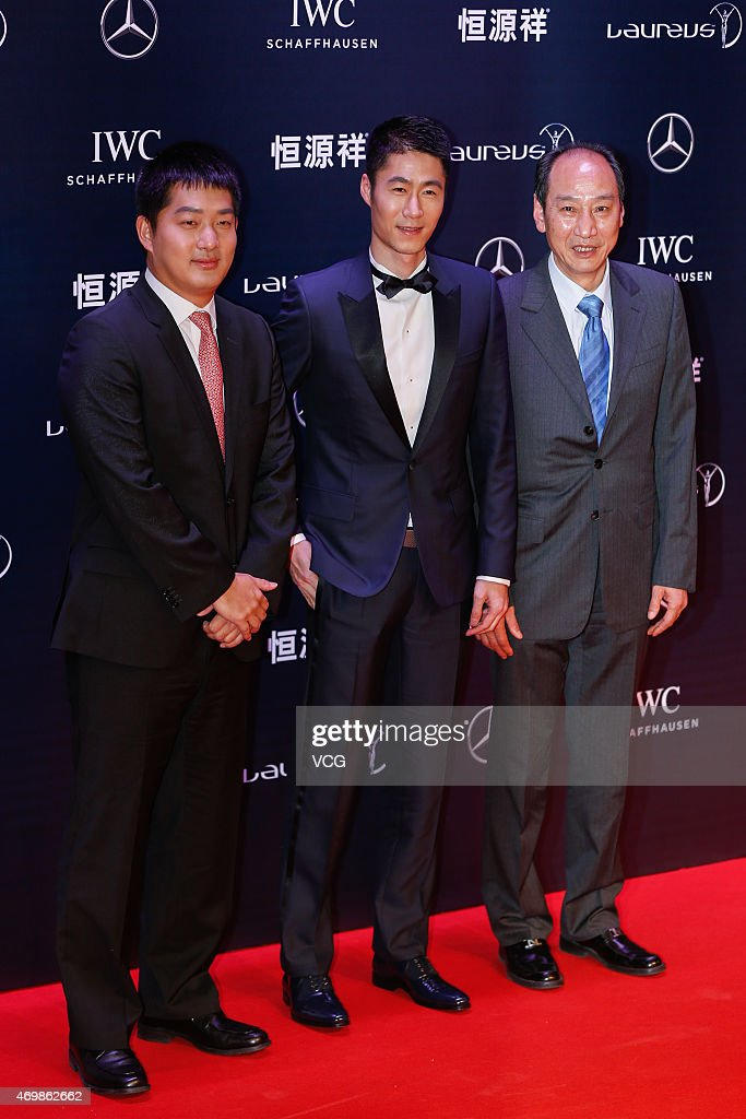 Go player Chang Hao, table tennis player Wang Liqin and Liu Xiang's coach Sun Haiping attend the 2015 Laureus World Sports Awards at Shanghai Grand Theatre on April 15, 2015 in Shanghai, China.