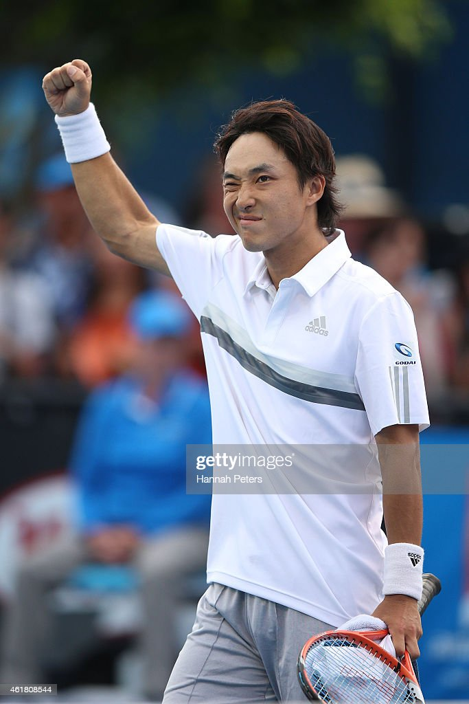 <a gi-track='captionPersonalityLinkClicked' href=/galleries/search?phrase=Go+Soeda&family=editorial&specificpeople=699644 ng-click='$event.stopPropagation()'>Go Soeda</a> of Japan celebrates winning his first round match against Elias Ymer of Sweden during day two of the 2015 Australian Open at Melbourne Park on January 20, 2015 in Melbourne, Australia.