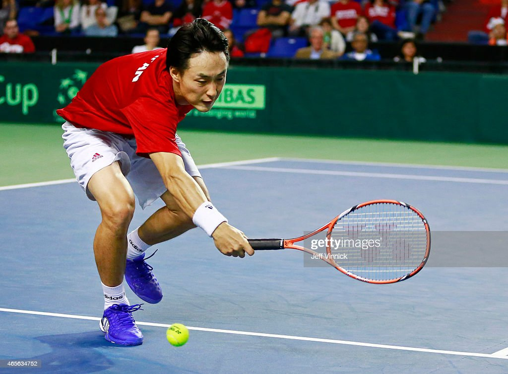 <a gi-track='captionPersonalityLinkClicked' href=/galleries/search?phrase=Go+Soeda&family=editorial&specificpeople=699644 ng-click='$event.stopPropagation()'>Go Soeda</a> of Japan misses a shot against Vasek Pospisil of Canada during their Davis Cup match March 8, 2015 in Vancouver, British Columbia, Canada. Pospisil won 3-0 and Canada defeated Japan 3-2.