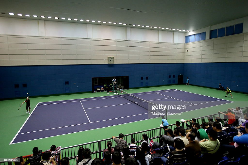 Go Soeda of Japan plays Nicolas Alamgro of Spain during the Shanghai Rolex Masters at the Qi Zhong Tennis Center on October 8, 2013 in Shanghai, China. Play was moved to an indoor facility due to rain.