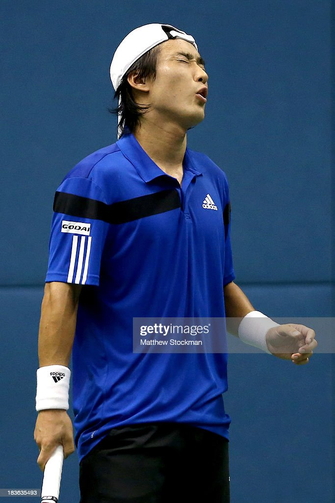<a gi-track='captionPersonalityLinkClicked' href=/galleries/search?phrase=Go+Soeda&family=editorial&specificpeople=699644 ng-click='$event.stopPropagation()'>Go Soeda</a> of Japan reacts to a lost point against Nicolas Alamgro of Spain during the Shanghai Rolex Masters at the Qi Zhong Tennis Center on October 8, 2013 in Shanghai, China.