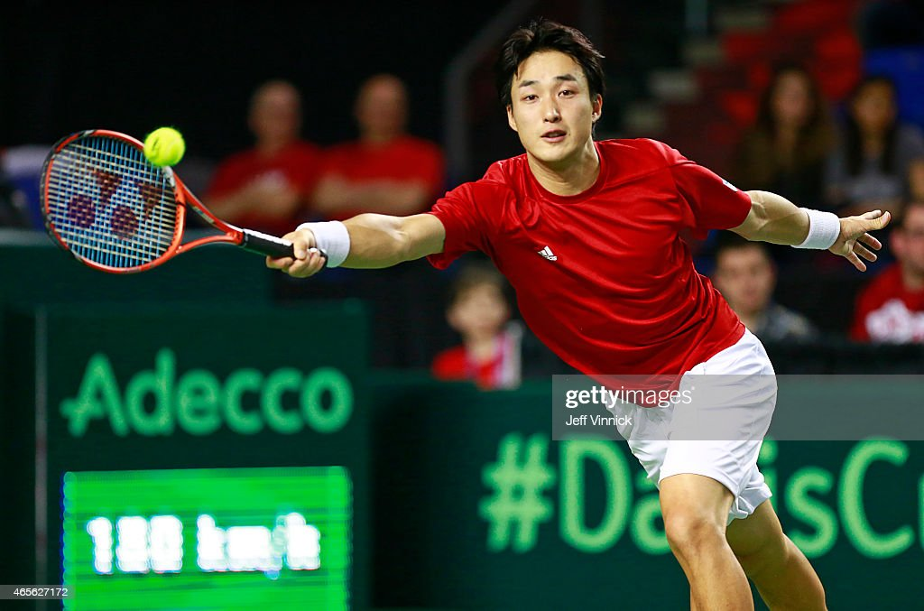 <a gi-track='captionPersonalityLinkClicked' href=/galleries/search?phrase=Go+Soeda&family=editorial&specificpeople=699644 ng-click='$event.stopPropagation()'>Go Soeda</a> of Japan returns a shot against Vasek Pospisil of Canada during their Davis Cup match March 8, 2015 in Vancouver, British Columbia, Canada.