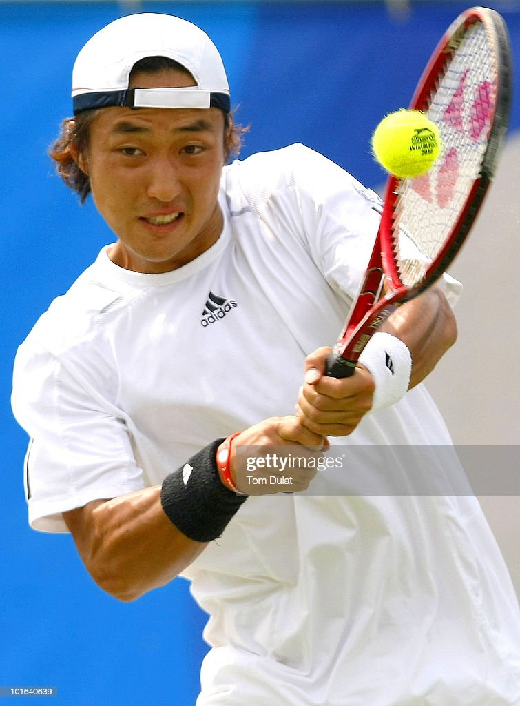 <a gi-track='captionPersonalityLinkClicked' href=/galleries/search?phrase=Go+Soeda&family=editorial&specificpeople=699644 ng-click='$event.stopPropagation()'>Go Soeda</a> of Japan returns the ball during the men's singles semi final match between Andre Begemann of Germany and <a gi-track='captionPersonalityLinkClicked' href=/galleries/search?phrase=Go+Soeda&family=editorial&specificpeople=699644 ng-click='$event.stopPropagation()'>Go Soeda</a> of Japan on day 6 of the Aegon Trophy Nottingham at the Nottingham Tennis Centre on June 5, 2010 in Nottingham, England.