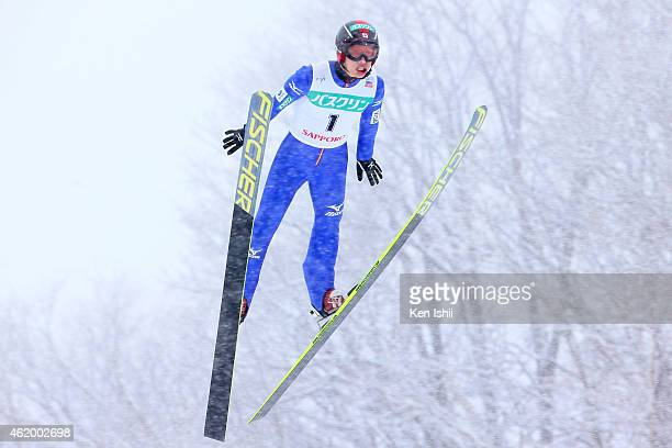 Go Sonehara of Japan competes in the LH Individual Gundersen during day one of FIS Men's Nordic Combined World Cup at Okurayama Ski Jump Stadium on...