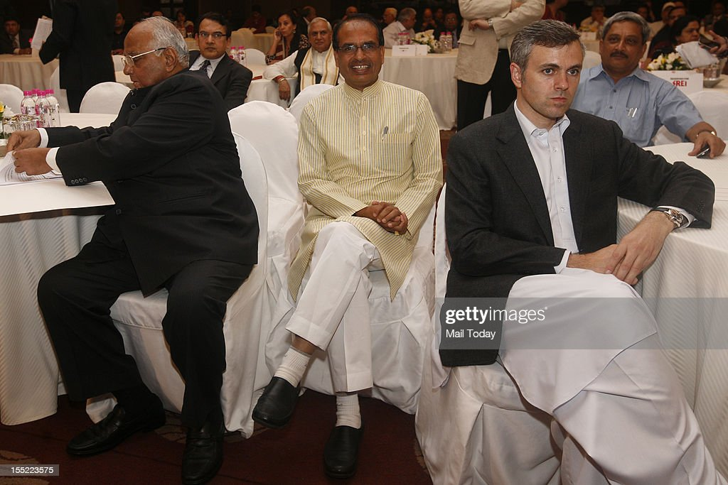 Goa Chief minister Manohar Parrikar (R), Jammu and Kashmir CM Omar Abdullah (in front), and Madhya Pradesh CM Shivraj Singh Chouhan along with Union Minister for Agriculture Sharad Pawar at the India Today State of the States Conclave in New Delhi on Thursday, November 1, 2012.