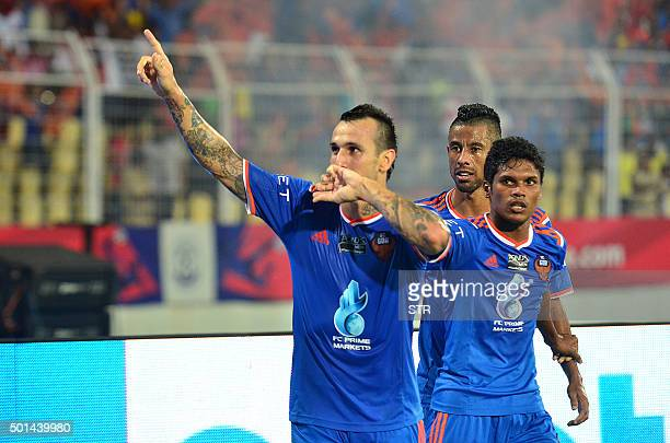 FC Goa player Rafael Coelho Luiz celebrates after scoring during the second leg of the semifinal football match between Delhi Dynamos FC and FC Goa...