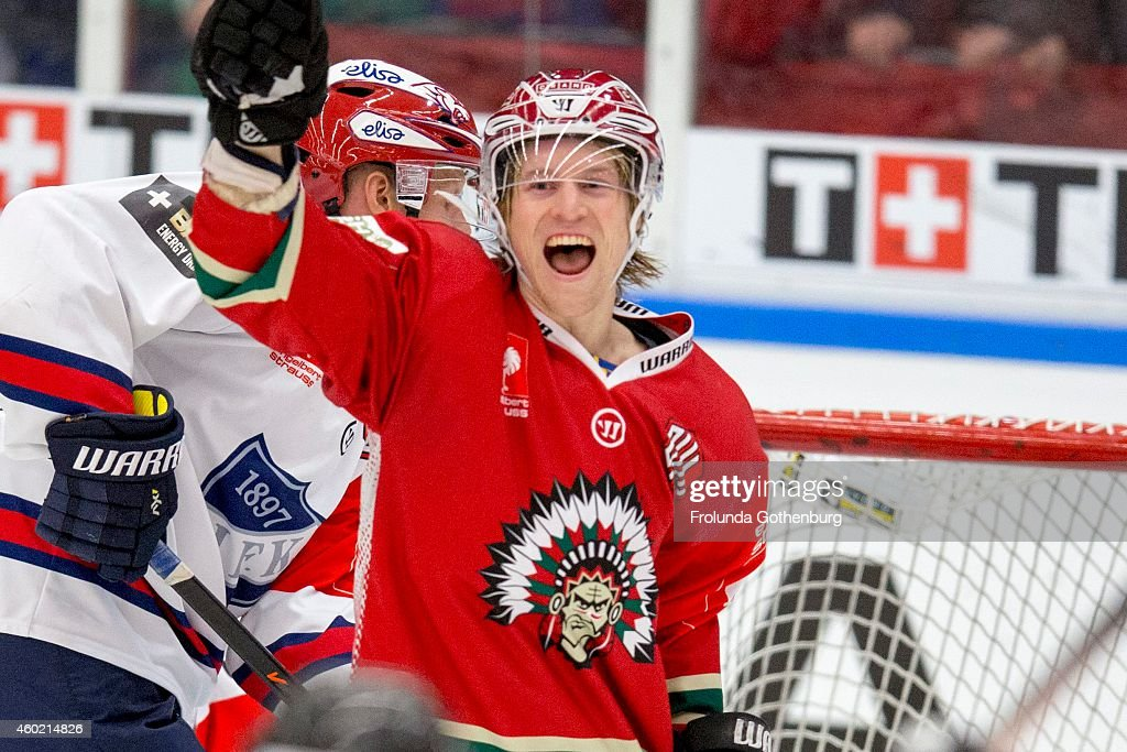 Goal by Frolunda 41 <a gi-track='captionPersonalityLinkClicked' href=/galleries/search?phrase=Mathis+Olimb&family=editorial&specificpeople=2288763 ng-click='$event.stopPropagation()'>Mathis Olimb</a> during the Champions Hockey League quarter final first leg game between Frolunda Gothenburg and IFK Helsinki at Scandinavium on December 9, 2014 in Gothenburg, Sweden.