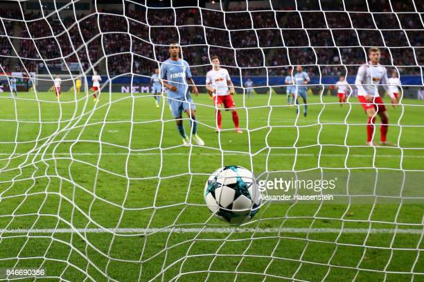 A goal is pictured with the matchball in the net during the UEFA Champions League group G match between RB Leipzig and AS Monaco at Red Bull Arena on...