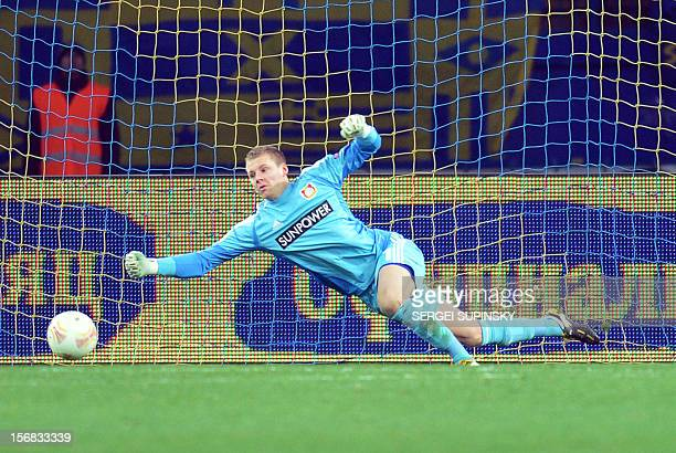 A goal is scored past goalkeeper Bernd Leno of Bayer 04 Leverkusen during the UEFA Europa League Group K football match between FC Metalist Kharkiv...
