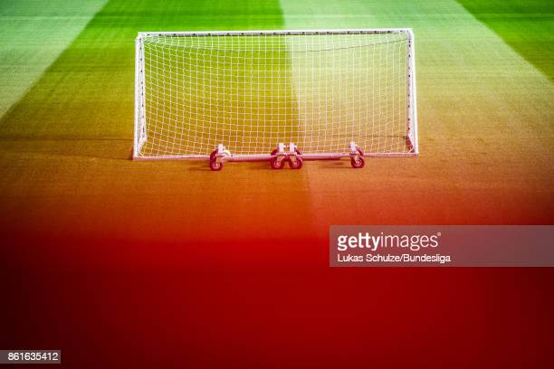 A goal is seen on the pitch prior to the Bundesliga match between Bayer 04 Leverkusen and VfL Wolfsburg at BayArena on October 15 2017 in Leverkusen...