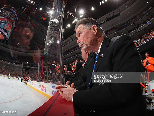A goal judge works the game between the Philadelphia Flyers and the Los Angeles Kings at the Wells Fargo Center on November 17 2015 in Philadelphia...