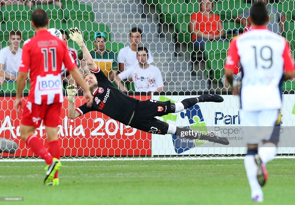 Goal Keeper Andrew Redmayne of the Heart saves an attempt on goal during the round 24 A-League match between the Melbourne Heart and Adelaide United at AAMI Park on March 11, 2013 in Melbourne, Australia.