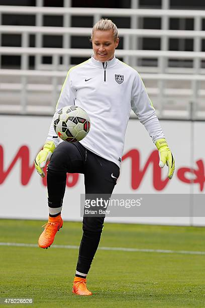 Goal keeper Ashlyn Harris of the United States warms up in practice on May 9 2015 before an international friendly match against Ireland at Avaya...