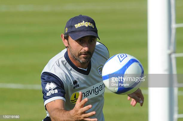 Goal keeper coach of Parma Luca Bucci in action during a preseason training session at the Hives centre in London on August 1 2011 in London England