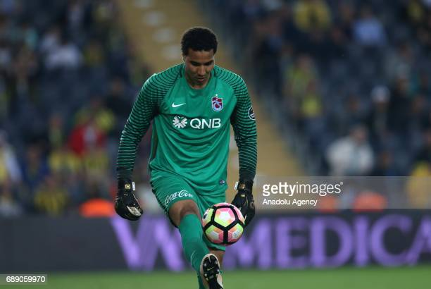 Goal keeper Esteban Alvarado Brown of Trabzonspor is seen during the Turkish Spor Toto Super Lig soccer match between Fenerbahce and Trabzonspor at...