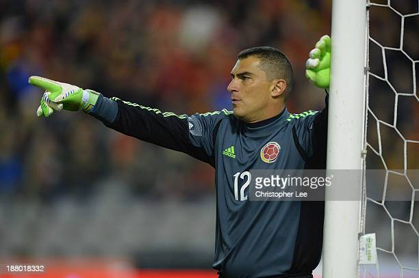 Goal Keeper Faryd Mondragon of Colombia in action during the International Friendly match between Belgium and Colombia at King Baudouin Stadium on...