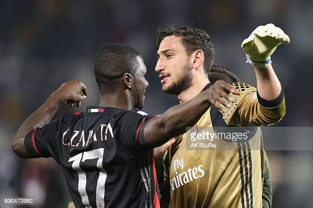 Goal keeper Gianluigi Donnarumma and Cristian Eduardo Zapata of AC Milan Celebrates after winning against Juventus FC during the Supercoppa TIM Doha...