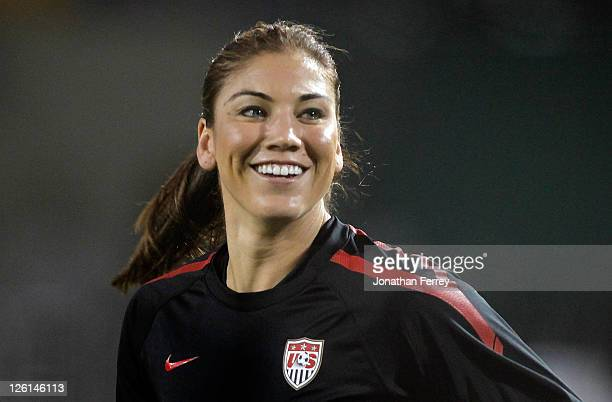 Goal Keeper Hope Solo of the United States warms up against Canada on September 22 2011 at JeldWen Field in Portland Oregon