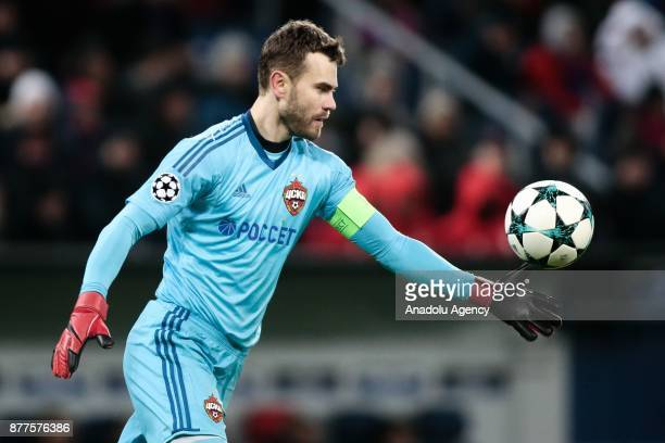 Goal keeper Igor Akinfeev of CSKA Moscow kicks the ball during the UEFA Champions League Group A soccer match between CSKA Moscow and Benfica at VEB...