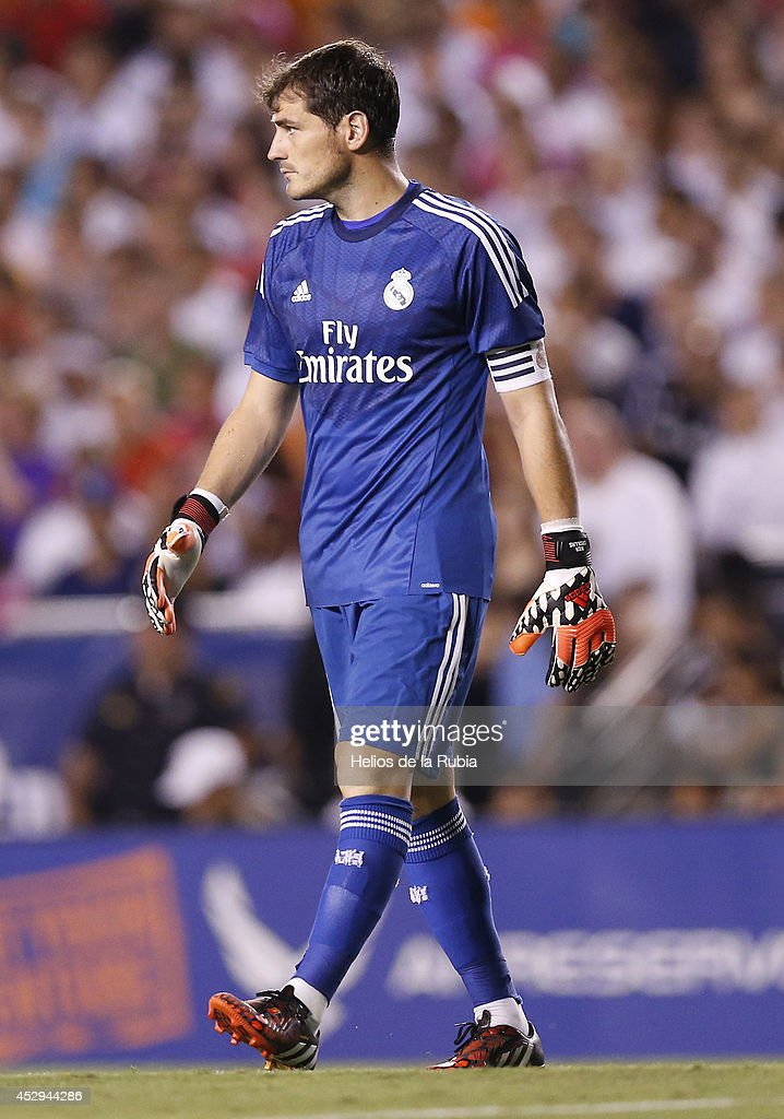 Goal Keeper Iker Casillas of Real Madrid in actions during the pre-season between Real Madrid and Roma at Guinness International Champions Cup 2014 game at Cotton Bowl on July 29, 2014 in Dallas, Texas.