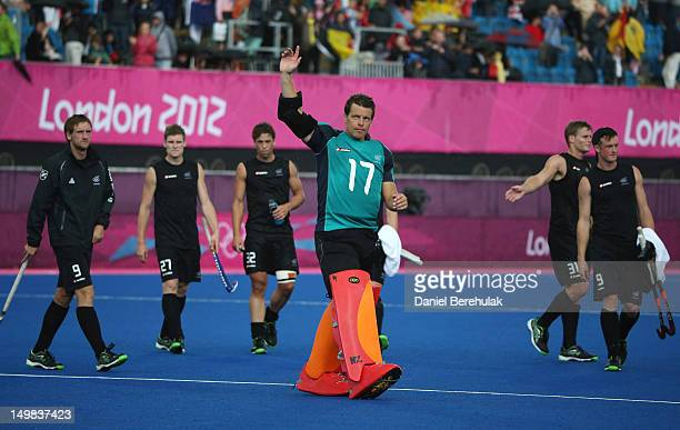 Goal keeper Kyle Pontifex of New Zealand waves to supporters during the Men's Hockey match between Belgium and New Zealand on Day 9 of the London...