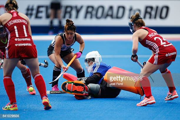 Goal keeper Maddie Hinch of Great Britain makes a save during the FIH Women's Hockey Champions Trophy 2016 match between Great Britain and Argentina...