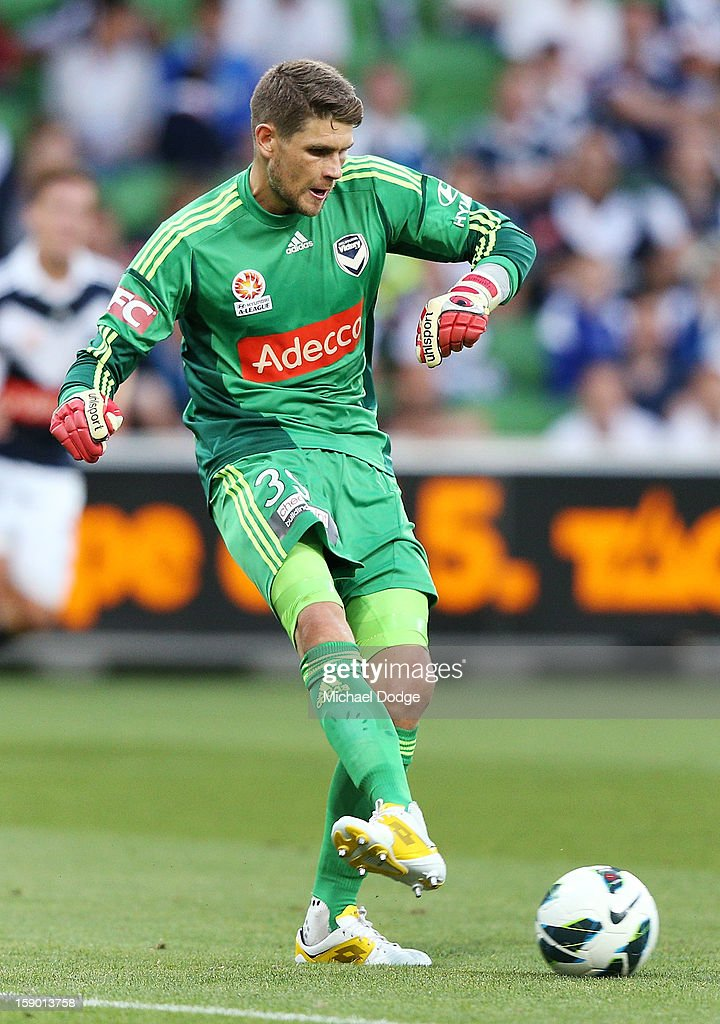 Goal keeper Nathan Coe of the Melbourne Victory kicks the ball during the round 15 A-League match between the Melbourne Victory and Wellington Phoenix at AAMI Park on January 5, 2013 in Melbourne, Australia.