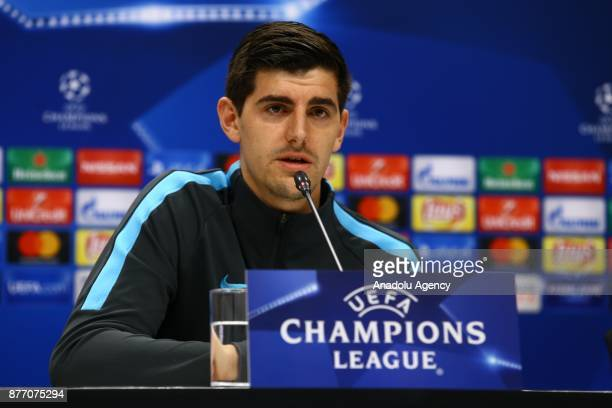 Goal keeper of Chelsea Thibaut Courtois and Head coach of Chelsea Antonio Conte hold a press conference ahead of the UEFA Champions League Group C...