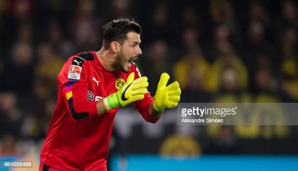 Goal keeper Roman Buerki of Borussia Dortmund in action during the Bundesliga match between Borussia Dortmund and Hamburger SV at Signal Iduna Park...