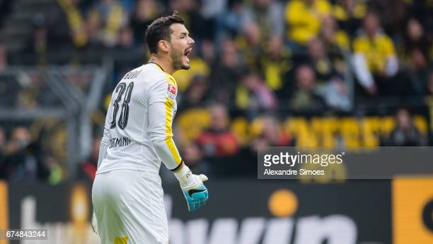 Goal keeper Roman Buerki of Borussia Dortmund in action during the Bundesliga match between Borussia Dortmund and FC Koeln at Signal Iduna Park on...