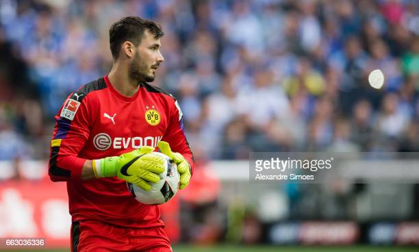Goal keeper Roman Buerki of Borussia Dortmund in action during the to the Bundesliga match between FC Schalke 04 and Borussia Dortmund at the...