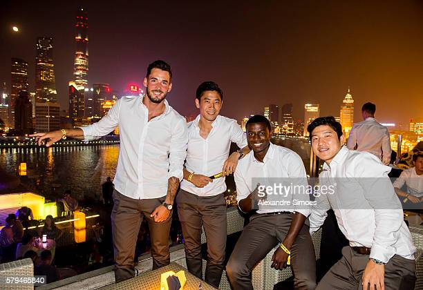 Goal keeper Roman Buerki Shinji Kagawa Adrian Ramos and Jo Hoo Park of Borussia Dortmund together during the Puma Gala Event at the House of...