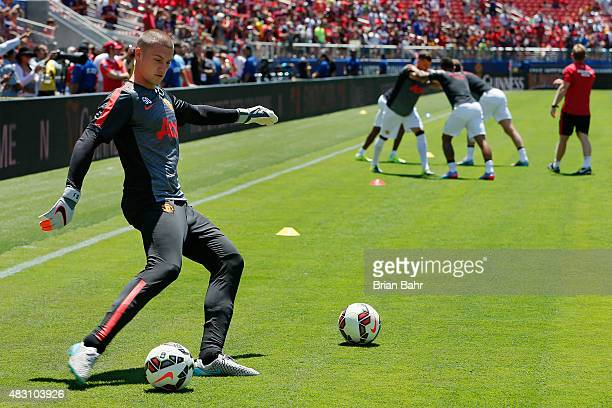 Goal keeper Sam Johnstone of Manchester United FC warms up before a game against FC Barcelona during the International Champions Cup on July 25 2015...
