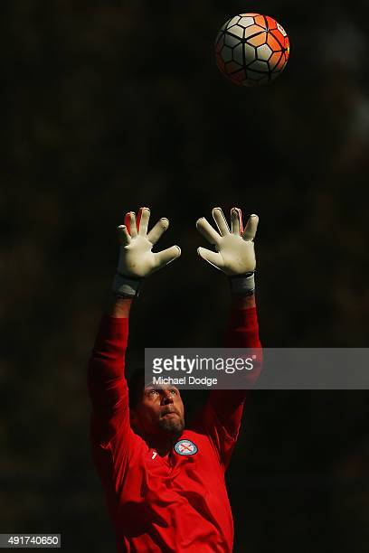 Goal Keeper Thomas Sorensen of the City a former international for Denmark and English Premier League player catches the ball during a Melbourne City...