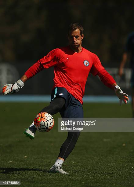 Goal Keeper Thomas Sorensen of the City a former international for Denmark and English Premier League player kicks the ball during a Melbourne City...