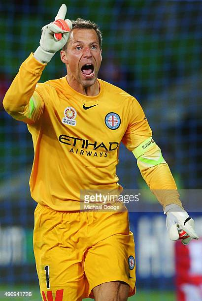 Goal Keeper Thomas Sorensen of the City calls for offside Frederico Piovaccari of the Wanderers kicks a goal during the round six ALeague match...