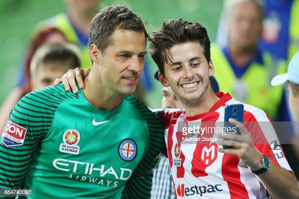 Goal Keeper Thomas Sorensen of the City celebrates the win with fans during the round 23 ALeague match between Melbourne City FC and the Newcastle...