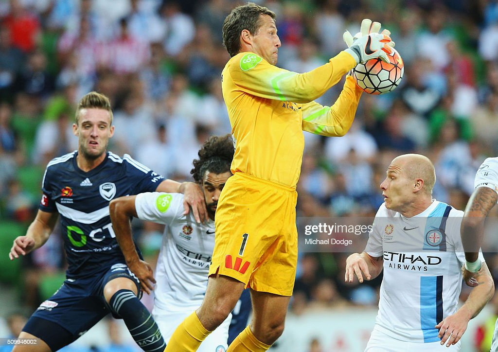 Goal Keeper Thomas Sorensen of the City makes a save during the round 19 A-League match between Melbourne City FC and Melbourne Victory at AAMI Park on February 13, 2016 in Melbourne, Australia.