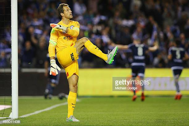 Goal Keeper Thomas Sorensen of the City reacts after conceding a goal during the round two ALeague match between Melbourne Victory and Melbourne City...