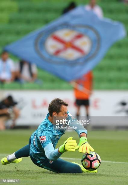 Goal Keeper Thomas Sorensen of the City warms up during the round 23 ALeague match between Melbourne City FC and the Newcastle Jets at AAMI Park on...