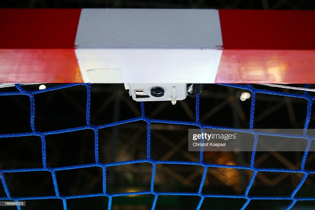 A goal line technology is used the first time at an international event prior to the EHF Cup Semi Final match between Tvis Holstebro and HBC Nantes at Palais des Sports de Beaulieu on May 18, 2013 in Nantes, France.