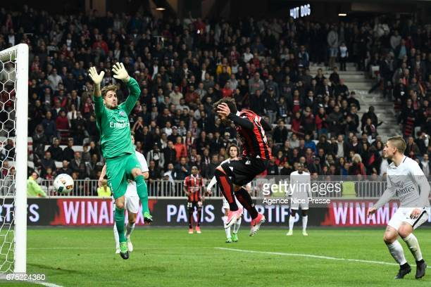 Goal of Anastasios Donis of Nice during the French Ligue 1 match between Nice and Paris Saint Germain at Stade Municipal du Ray on April 30 2017 in...
