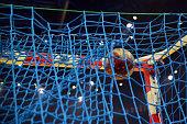 Handball in the goalnet seen lowangle from behind